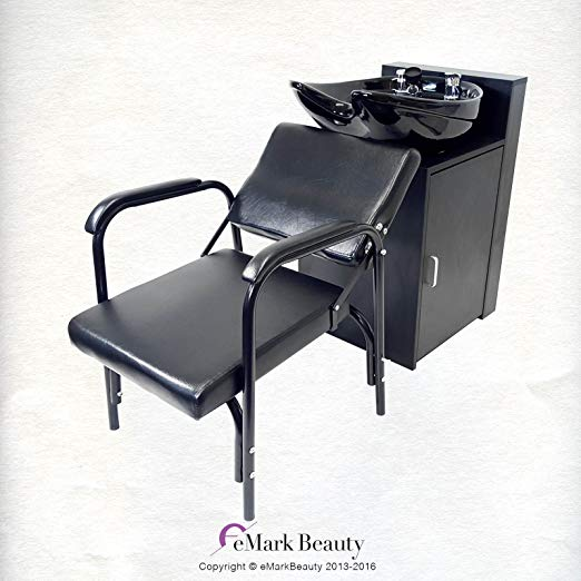 CERAMIC Beauty Salon Backwash Bowl Salon Sink with Floor Cabinet and Reclining Shampoo Chair TLC-B07C-216C